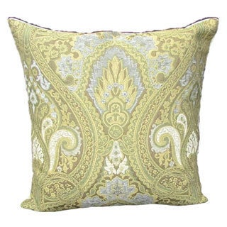 French Woven Goldtone Victorian Cotton and Wool Design Pillow