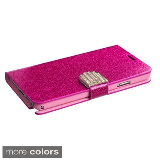 BasAcc Diamonds Card Slots Glitter Leather Case Cover for Samsung Galaxy Note 3