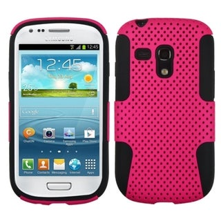 BasAcc Hot Pink Black Dual Layer Hybrid Case Cover for Samsung Galaxy S3 Mini