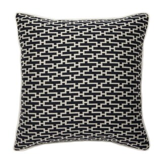 French-woven Black Zig-zag Pattern Cotton and Wool Decorative Throw pillow