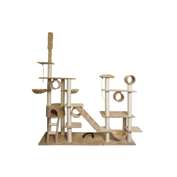 Oxgord Tan / White 96-inch Cat Tree