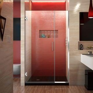 DreamLine Unidoor Plus 72 in. H x 43 - 44 in. W Frameless Hinged Shower Door, Clear Glass
