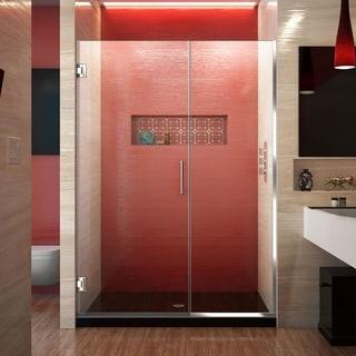 DreamLine Unidoor Plus 72 in. H x 46 - 47 in. W Frameless Hinged Shower Door, Clear Glass