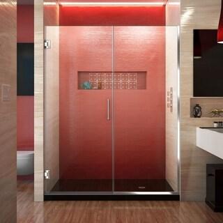 DreamLine Unidoor Plus 72 in. H x 53 - 54 in. W Frameless Hinged Shower Door, Clear Glass