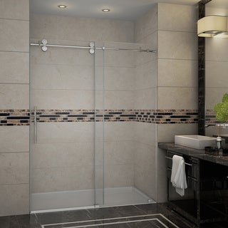 "Aston 48"" Frameless Stainless Steel Sliding Shower Door"
