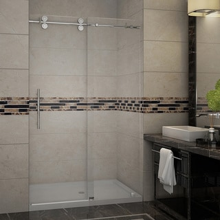 Aston Soleil 60-in x 75-in Completely Frameless Alcove Shower Door with Glass Shelves in Stainless Steel