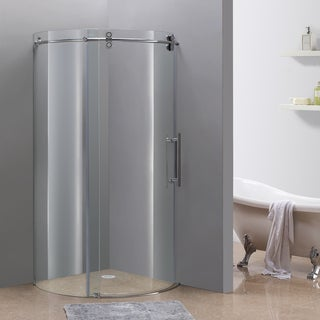 "Aston 36"" x 36"" Frameless Chrome Round Shower Enclosure (Right Opening)"
