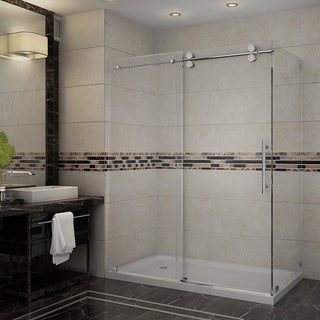 "Aston 60"" Frameless Stainless Steel Sliding Shower Enclosure with Left Base"