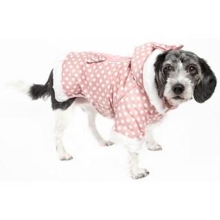 Pet Life Pink / White Polka-dot Hooded Pet Sweatshirt