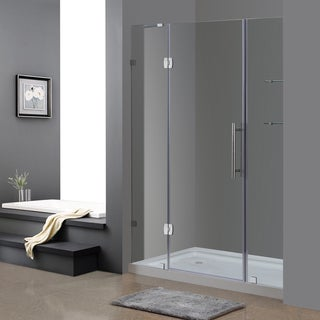 "Aston 60"" Frameless Chrome Hinged Shower Door with Glass Shelves and Left Shower Base"