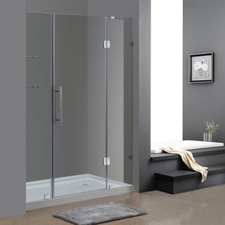 "Aston 60"" Frameless Chrome Hinged Shower Door with Glass Shelves and Right Shower Base"