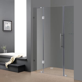 Aston Soleil 60-in x 75-in Completely Frameless Alcove Shower Door with Glass Shelves in Chrome