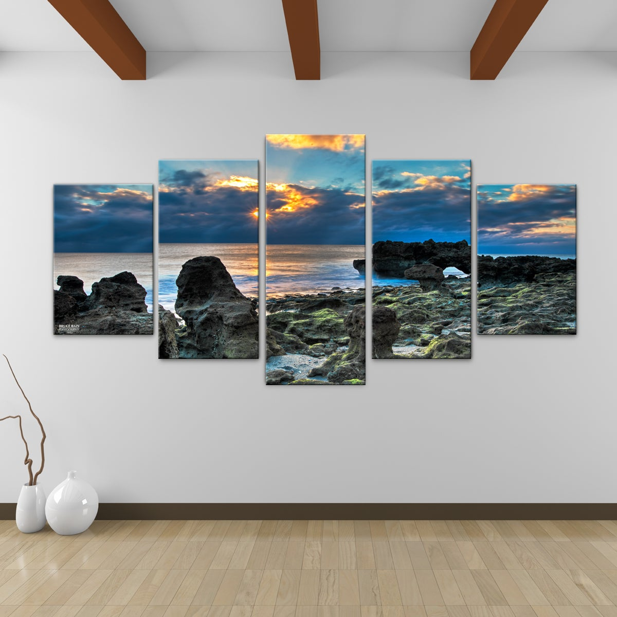 bruce bain 39 sun rise 39 5 piece canvas wall art overstock. Black Bedroom Furniture Sets. Home Design Ideas