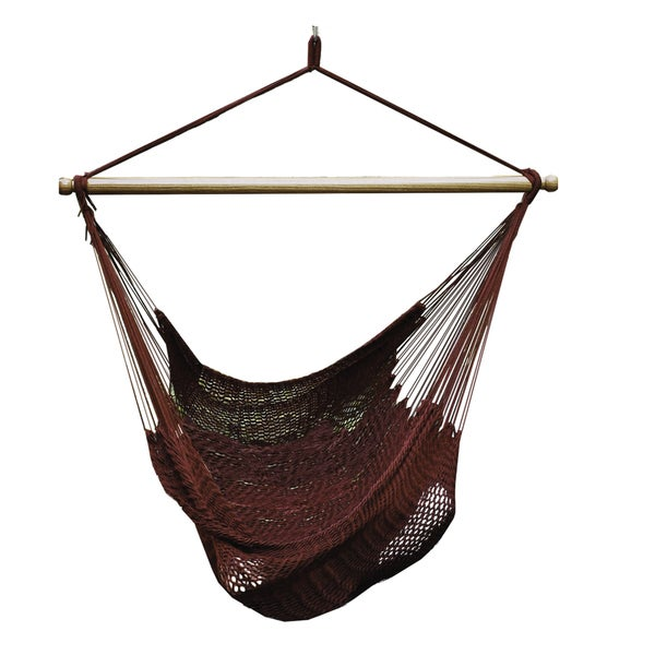 Algoma Burgundy Polyester Hanging Rope Chair