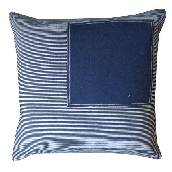Window Stripe Navy Decorative Throw Pillow