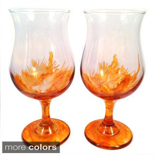 Hand-painted Bulb Wine Glasses (Set of 4)