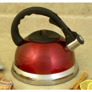 ExcelSteel Whistling Red Stainless Steel Tea Kettle