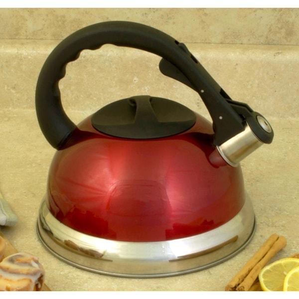 Excelsteel 3 qt whistling red stainless steel tea kettle for Alpine cuisine tea kettle