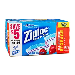 Ziploc Quart Plastic Storage Bags with Double Zipper 50-bags (9-pack)