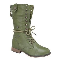 Women's Wild Diva Legend-9 Army Green Faux Leather
