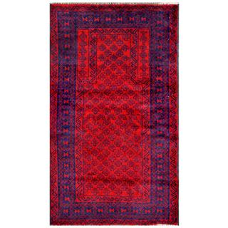 Herat Oriental Semi-antique Afghan Hand-knotted Tribal Balouchi Red/ Navy Wool Rug (2'6 x 4'5)