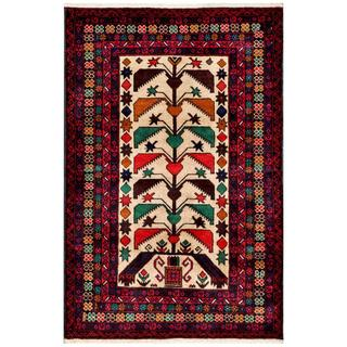 Herat Oriental Semi-antique Afghan Hand-knotted Tribal Balouchi Ivory/ Red Wool Rug (2'11 x 4'7)