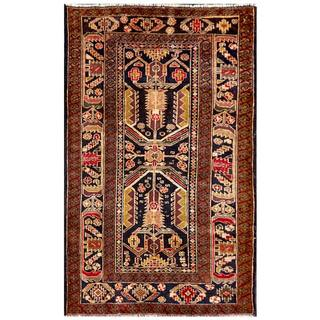 Herat Oriental Semi-antique Afghan Hand-knotted Tribal Balouchi Ivory/ Navy Wool Rug (2'11 x 4'10)
