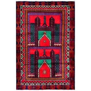 Herat Oriental Semi-antique Afghan Hand-knotted Tribal Balouchi Red/ Teal Wool Rug (3' x 4'7)