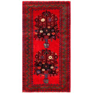 Herat Oriental Semi-antique Afghan Hand-knotted Tribal Balouchi Red/ Charcoal Wool Rug (2'7 x 4'11)