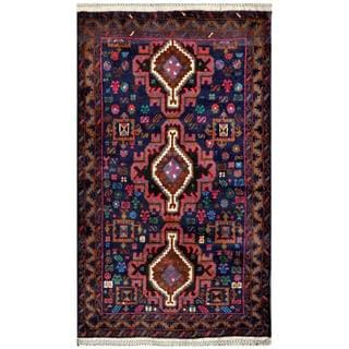 Herat Oriental Semi-antique Afghan Hand-knotted Tribal Balouchi Brown/ Navy Wool Rug (2'9 x 4'10)