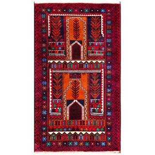 Herat Oriental Semi-antique Afghan Hand-knotted Tribal Balouchi Copper/ Ivory Wool Rug (2'8 x 4'9)