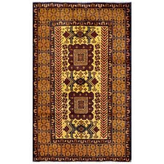 Herat Oriental Semi-antique Afghan Hand-knotted Tribal Balouchi Tan/ Beige Wool Rug (2'11 x 4'10)