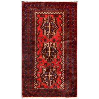 Herat Oriental Semi-antique Afghan Hand-knotted Tribal Balouchi Red/ Brown Wool Rug (2'10 x 4'9)