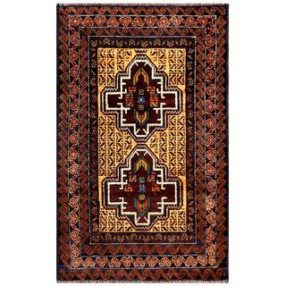 Herat Oriental Semi-antique Afghan Hand-knotted Tribal Balouchi Gold/ Brown Wool Rug (2'8 x 4'2)