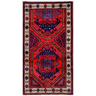 Herat Oriental Semi-antique Afghan Hand-knotted Tribal Balouchi Red/ Navy Wool Rug (2'6 x 4'7)