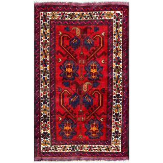 Herat Oriental Semi-antique Afghan Hand-knotted Tribal Balouchi Red/ Navy Wool Rug (2'6 x 4'3)