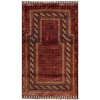 Herat Oriental Semi-antique Afghan Hand-knotted Tribal Balouchi Salmon/ Brown Wool Rug (2'8 x 4'8)