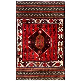 Herat Oriental Semi-antique Afghan Hand-knotted Tribal Balouchi Red/ Ivory Wool Rug (2'9 x 4'6)