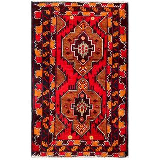 Herat Oriental Semi-antique Afghan Hand-knotted Tribal Balouchi Brown/ Red Wool Rug (2'9 x 4'6)