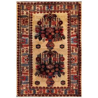 Herat Oriental Semi-antique Afghan Hand-knotted Tribal Balouchi Beige/ Charcoal Wool Rug (2'11 x 4'3)