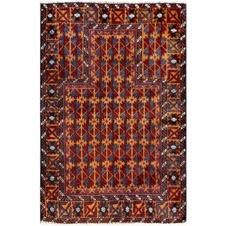 Herat Oriental Semi-antique Afghan Hand-knotted Tribal Balouchi Brown/ Navy Wool Rug (2'11 x 4'4)