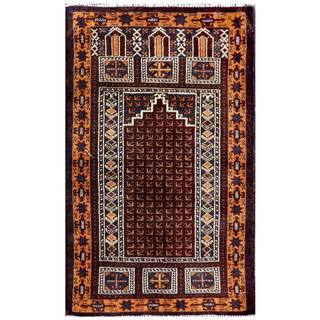 Herat Oriental Semi-antique Afghan Hand-knotted Tribal Balouchi Brown/ Ivory Wool Rug (2'7 x 4'3)