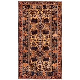 Herat Oriental Semi-antique Afghan Hand-knotted Tribal Balouchi Beige/ Navy Wool Rug (2'10 x 5'1)