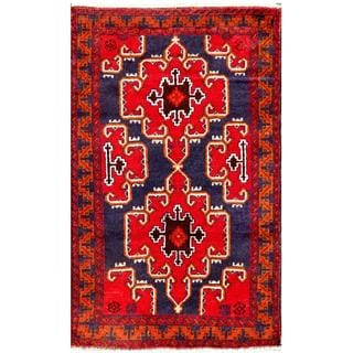 Herat Oriental Semi-antique Afghan Hand-knotted Tribal Balouchi Red/ Navy Wool Rug (2'8 x 4'4)
