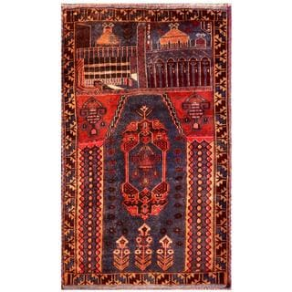 Herat Oriental Semi-antique Afghan Hand-knotted Tribal Balouchi Purple/ Red Wool Rug (2'10 x 4'6)