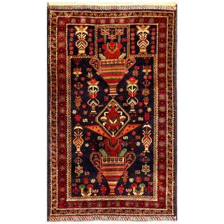 Herat Oriental Semi-antique Afghan Hand-knotted Tribal Balouchi Navy/ Burgundy Wool Rug (2'9 x 4'9)