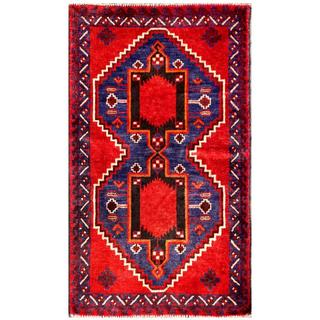 Herat Oriental Semi-antique Afghan Hand-knotted Tribal Balouchi Red/ Navy Wool Rug (2'6 x 4'4)