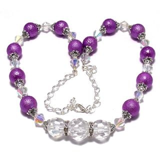 Violet Bumpy Pearl and Clear AB Crystal 4-piece Wedding Jewelry Set
