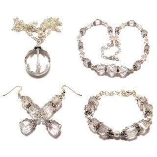 Clear AB Crystal and Smooth White Glass Pearl 4-piece Jewelry Set