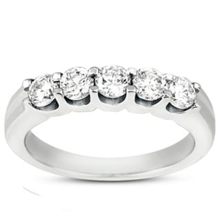 14k White Gold 1 1/2ct TDW Classic 5-stone Wedding Band (F-G, SI1-SI2)